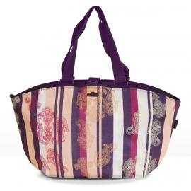 FastRider Shopper Paisley Rear Pannier Bag Purple Stripe