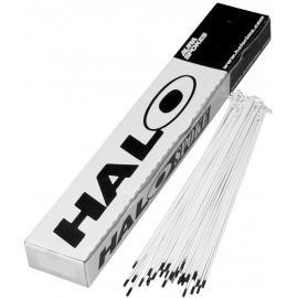 Halo PC Plain Gauge Spokes 14g White With Black Nipples