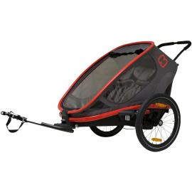 Hamax Outback Twin Child Bike Trailer Red/Charcoal